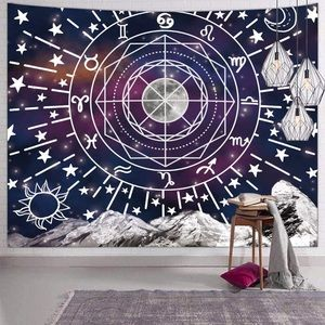 Space Tapestry Psychedelic Zodiac Constellation